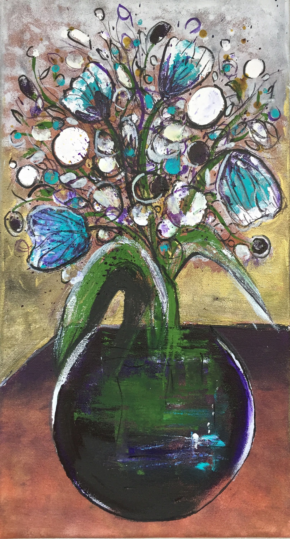Blue tulips original art beautiful paintings buy art floral art flower painting uk art affordable art buy gift 15x7 8 by