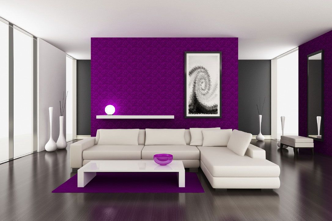 Feature Purple Magenta Wallpaper Purple Living Room Room Wall