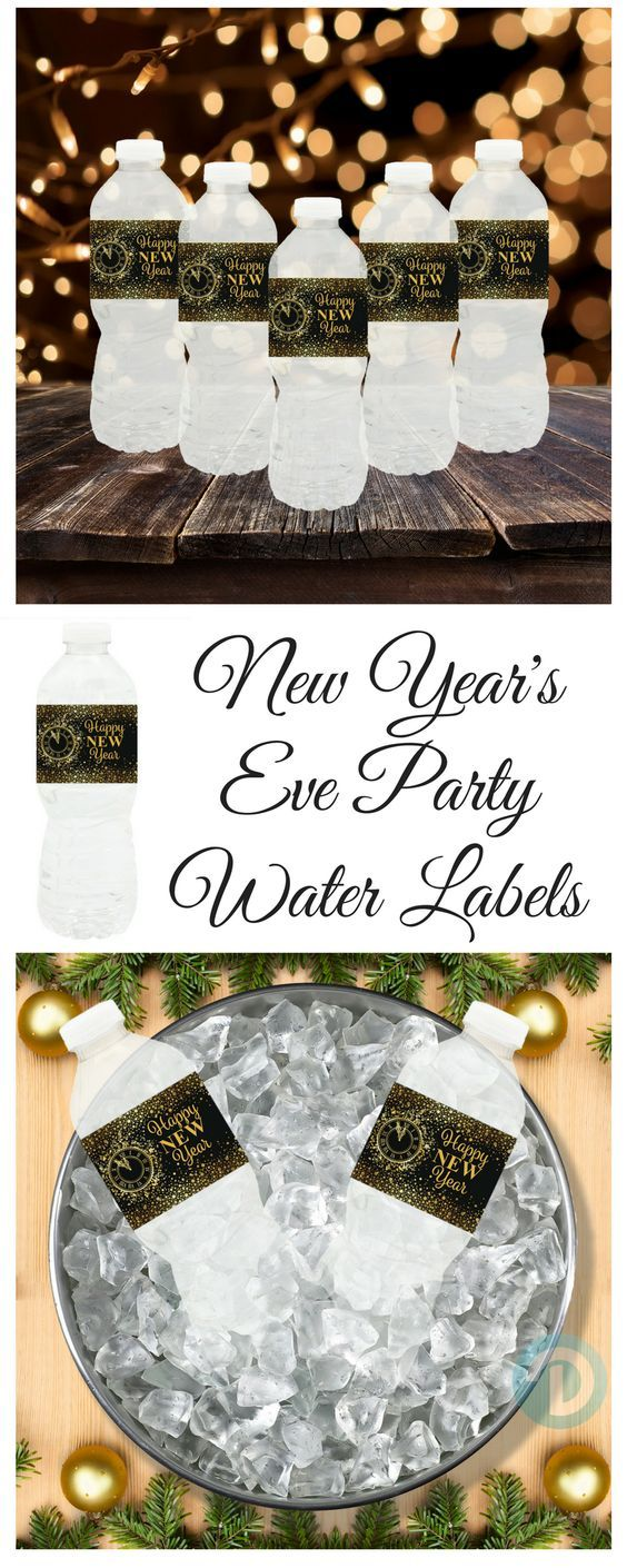 Black and Gold New Year's Eve Party Water Bottle Labels ...