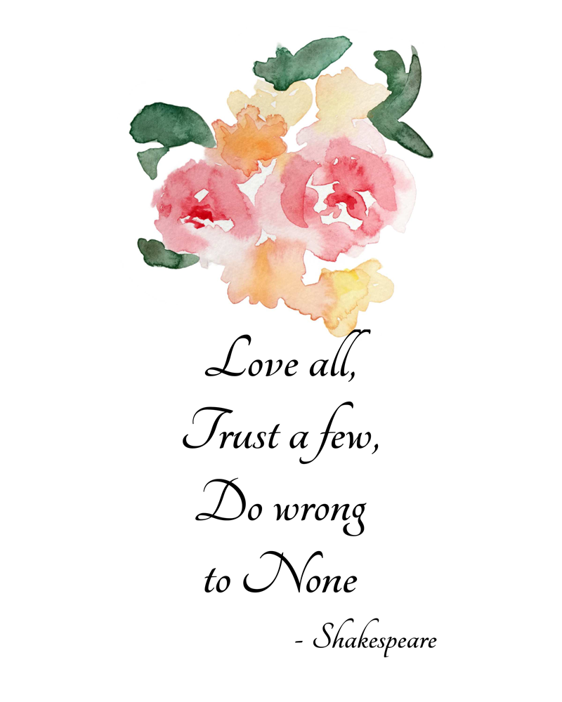 Printable Art Quote Shakespeare Quote Will Add Elegance To Your