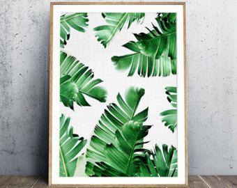 Banana Leaf Print Tropical Poster Leaves Beach Summertime Modern Art Digital