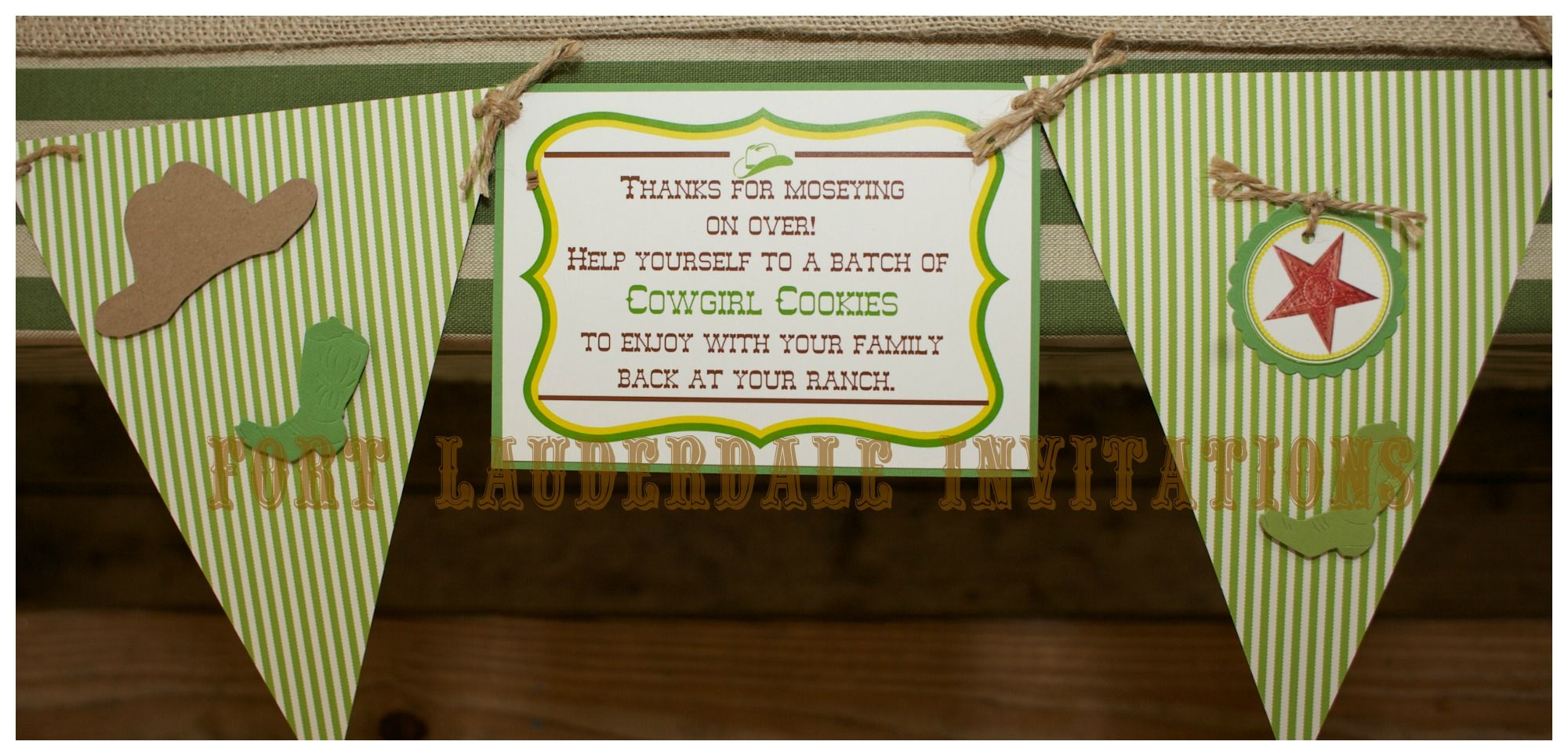 Cowgirl Party - Banner by Fort Lauderdale Invitations - Visit our website for ordering information! Fort Lauderdale * Hollywood * Miami * Palm Beaches * We Ship Worldwide