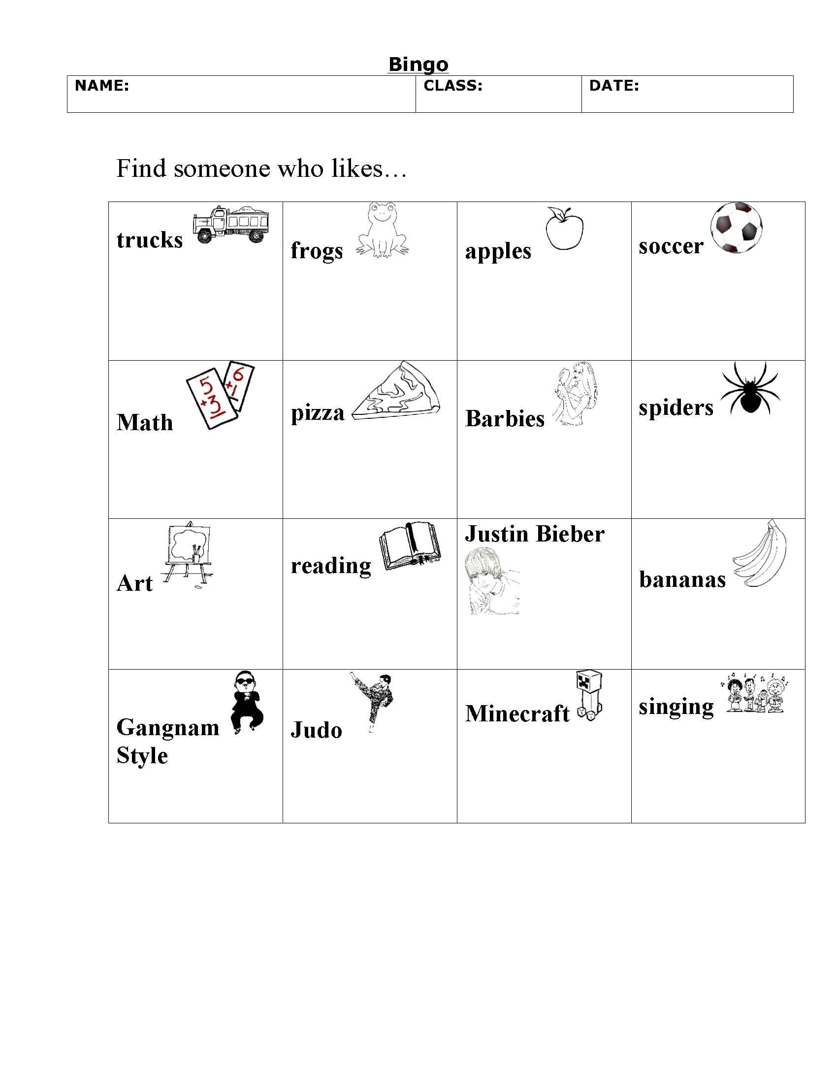 My Grade 1 Version Of People Bingo