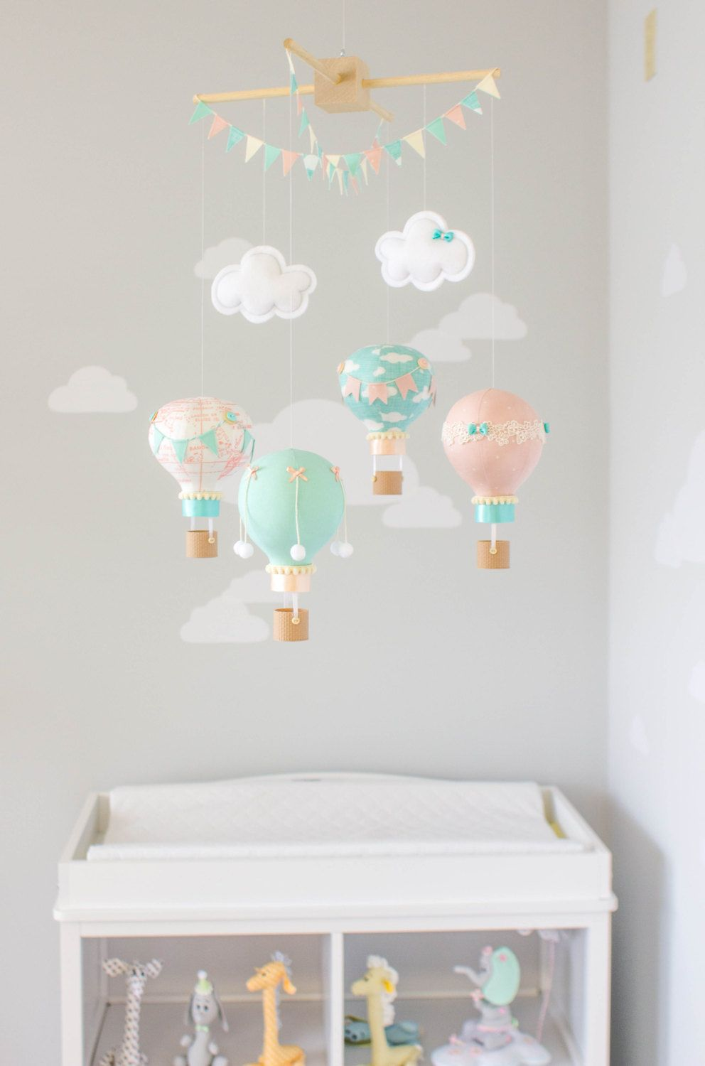 Hot Air Balloon Baby Mobile Travel Theme Nursery Decor Nursery Mobile Blush Pink Teal And Ivo Travel Theme Nursery Nursery Themes Hot Air Balloon Nursery