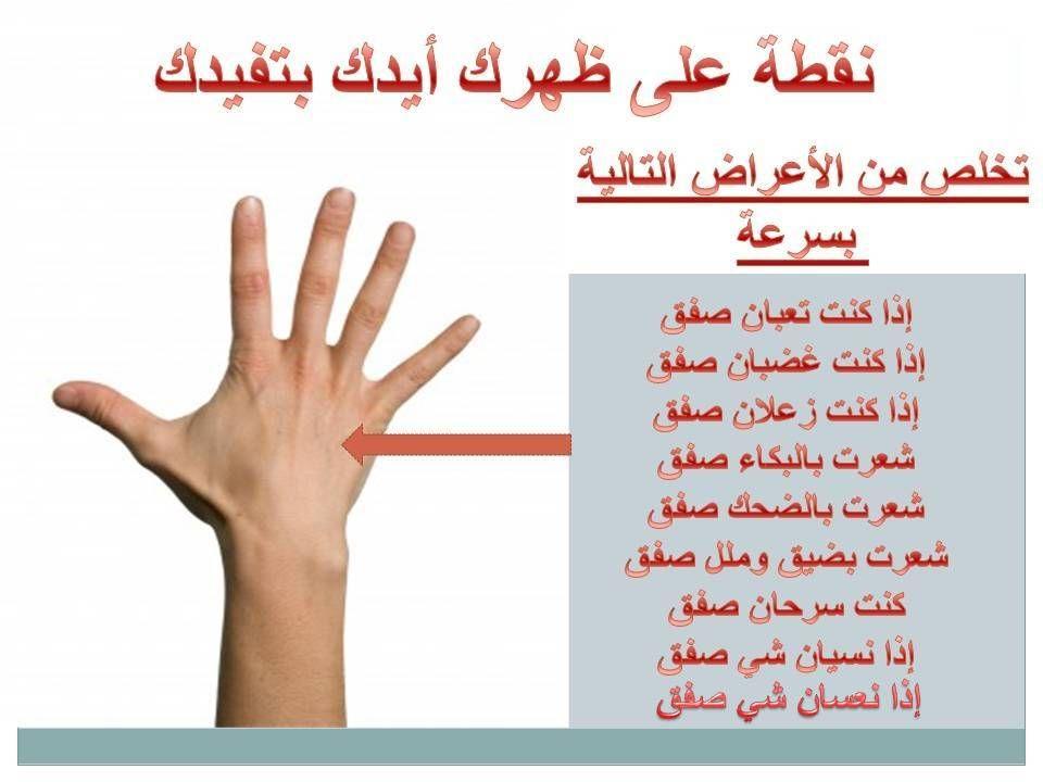 نقطة على ظهر ايدك تساعدك وتفيدك قم بالطرق او التربيت على المكان في الصورة اثناء الشعور بالمشاعر Reflexology Chart Reflexology Massage Health Fitness Nutrition