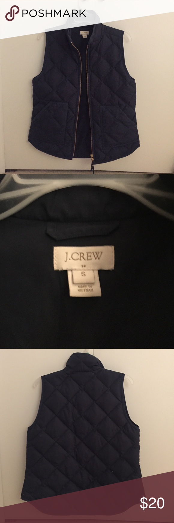 J Crew Factory Navy Quilted Vest One season-worn J Crew Factory quilted vest. The perfect accessory for fall! Super cute navy vest with 2 pockets. Perfect for fall afternoons with jeans and boots. Excellent condition. J. Crew Factory Jackets & Coats Vests
