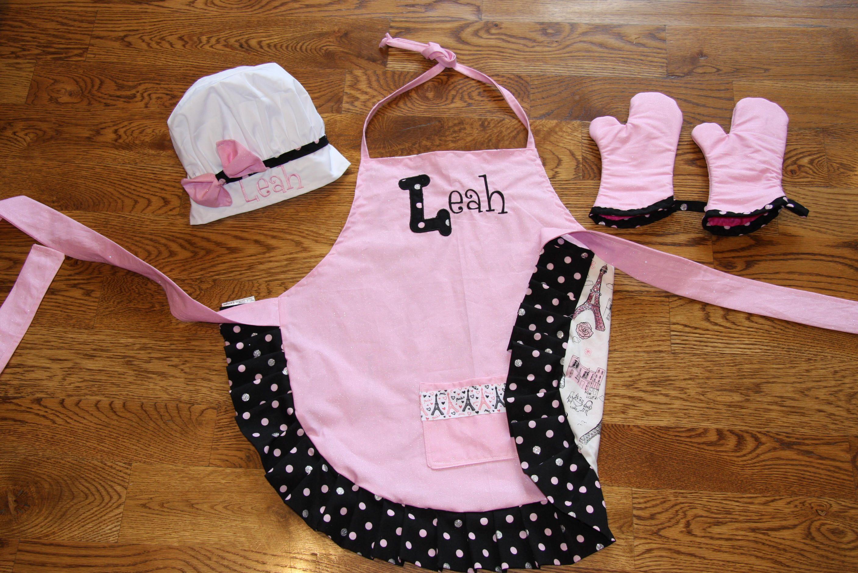 Custom Embroidered Apron Glitter Paris Child's Apron Kids Apron Girls Apron  Personalized apron with matching hot