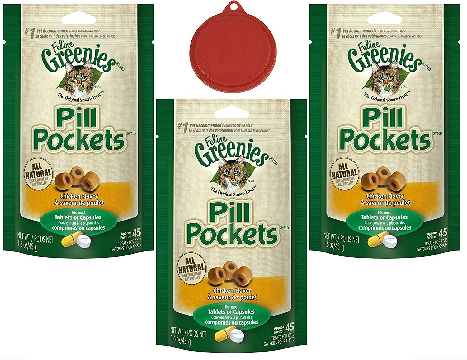 Greenies Pill Pockets Cat Treats Value Pack - Greenies Chicken Flavor Treats 3 Pack (135 Treats) 1.6 Oz W/ Bonus Travel Pet Bowl for Snacks >>> Check out the image by visiting the link.