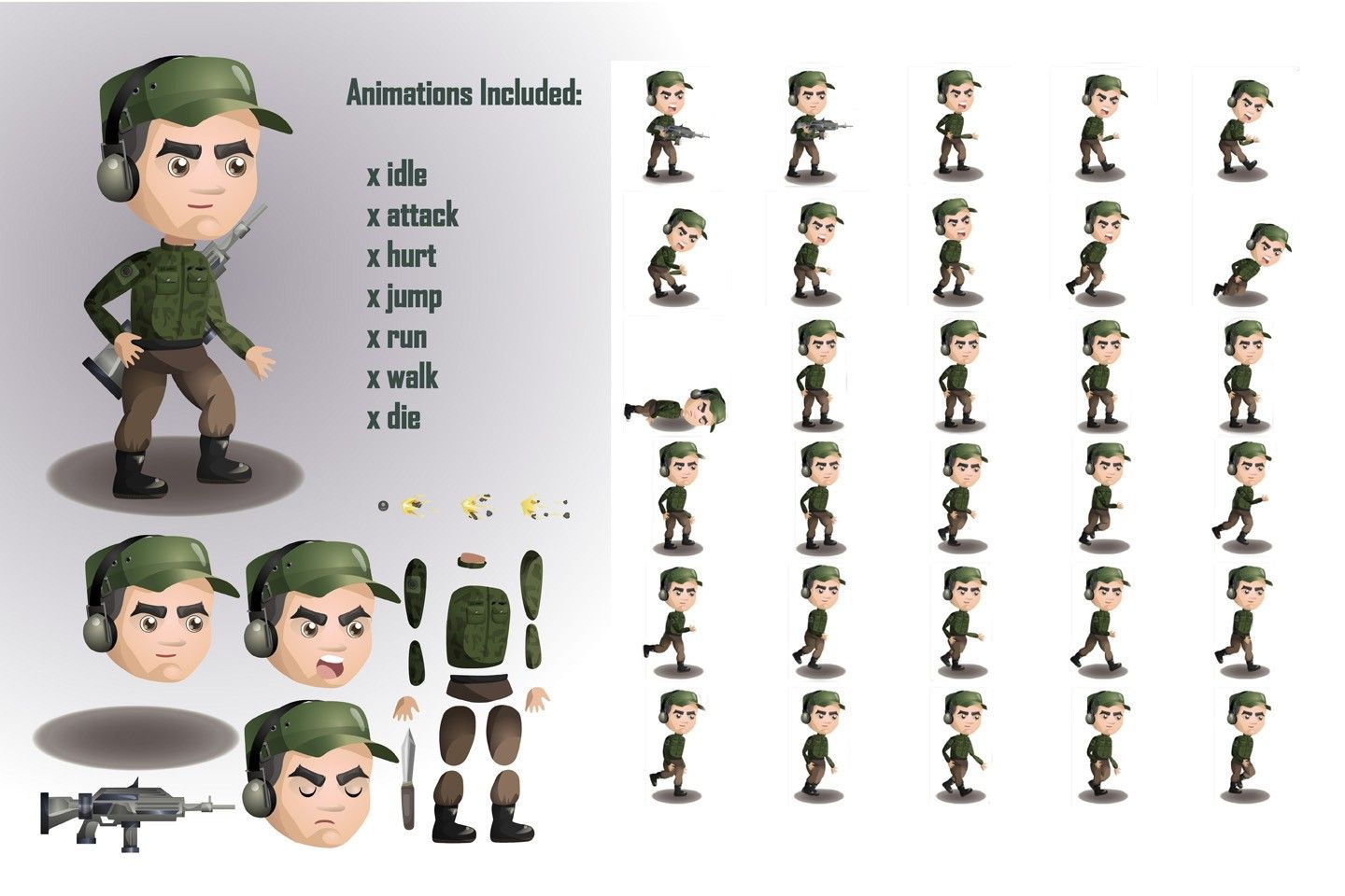 2D Game Soldiers Character Sprites Sheets (With images