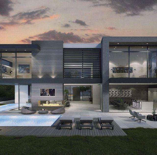 Neubau Einfamilienhaus Flachdach: Arquitetura Moderna Em 2019