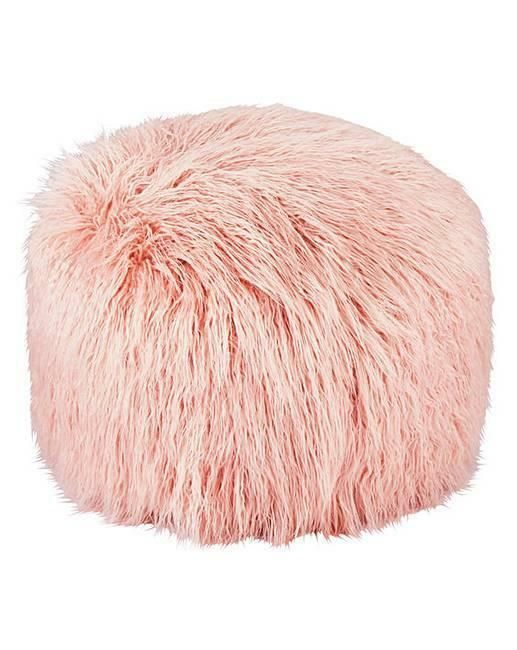Details About Blush Pink Faux Fur Pouffe Additional Seat