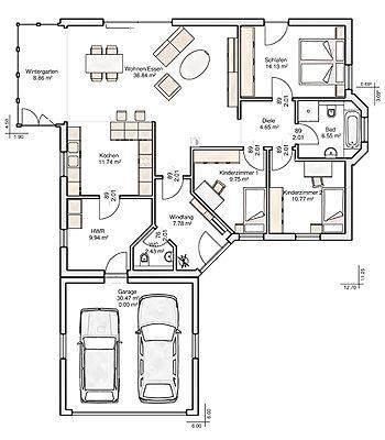 winkelbungalow vielbrunn grundriss albert haus. Black Bedroom Furniture Sets. Home Design Ideas