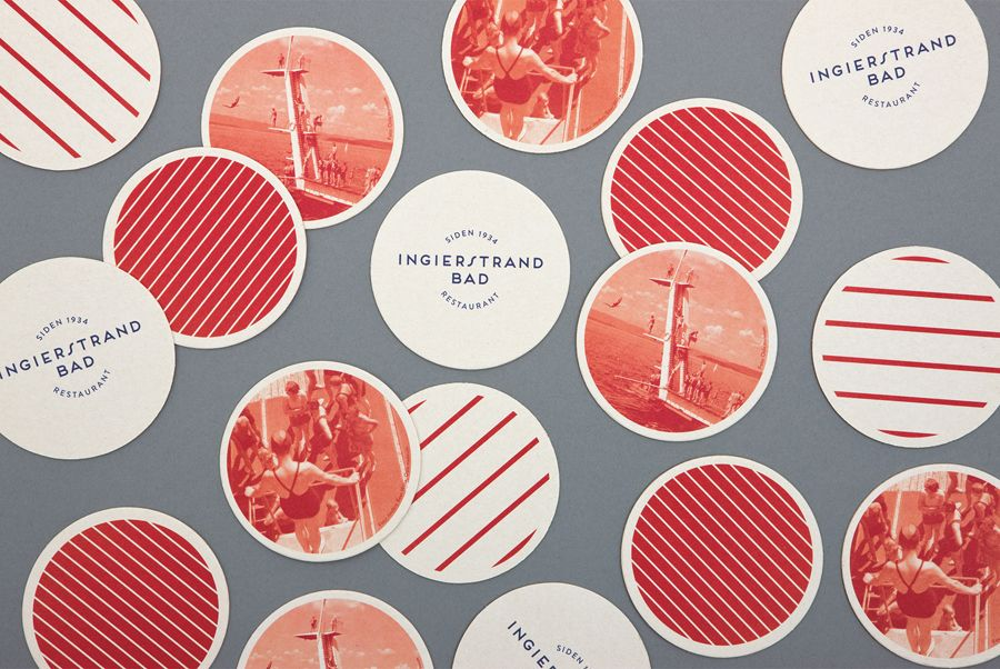 Logo and coasters with vintage tinted photography detail designed by Uniform for recently refurbished Norwegian restaurant Ingierstrand Bad