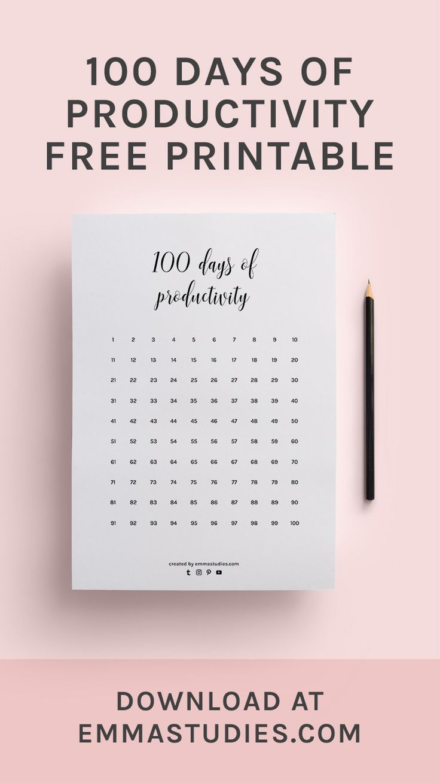 100 days of productivity calendar progress tracker