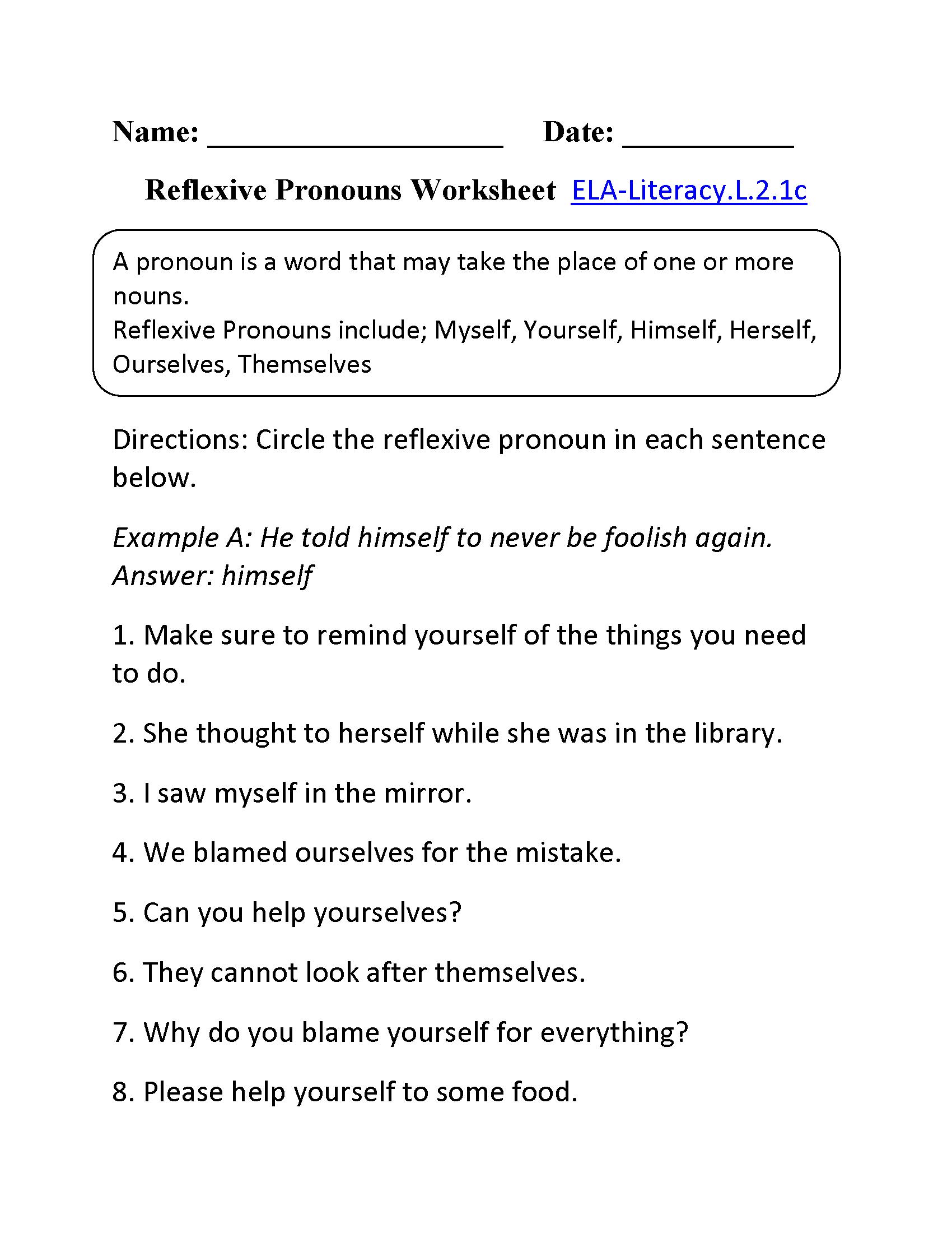 Reflexive Pronouns Worksheet 1 ELA Literacy L 2 1c Language