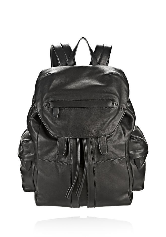 ALEXANDER WANG MARTI BACKPACK IN WASHED BLACK WITH MATTE BLACK ... ac3e4d43aad95