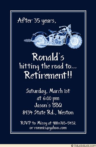 motorcycle retirement party card - blue classic design, Wedding invitations
