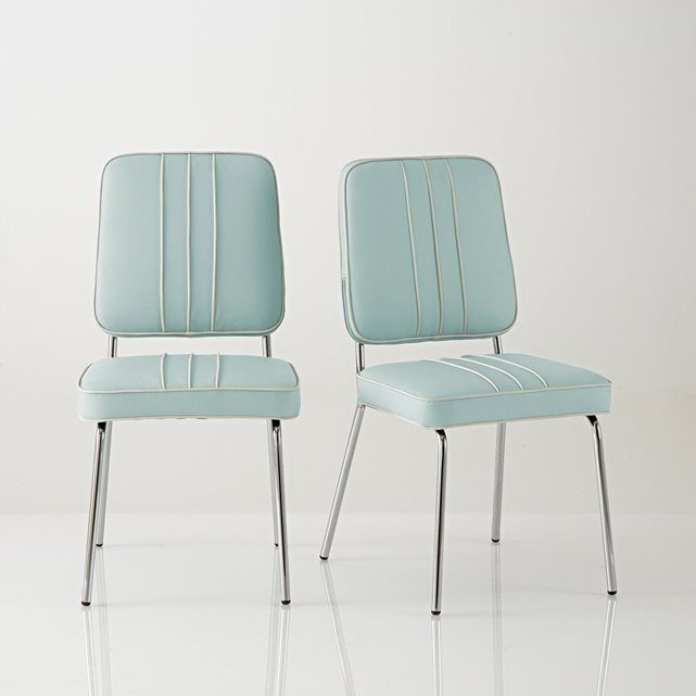 chaise retro usa acier chrom et cuir synthtique la redoute interieurs prix avis - Chaise Retro
