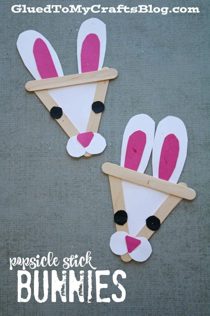 Popsicle Stick Bunny Kids Craft Idea For Easter Spring