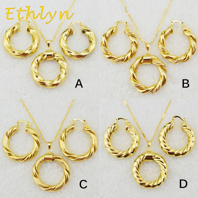 Ethlyn Dubai gold Ethiopian necklace earrings African sets gold