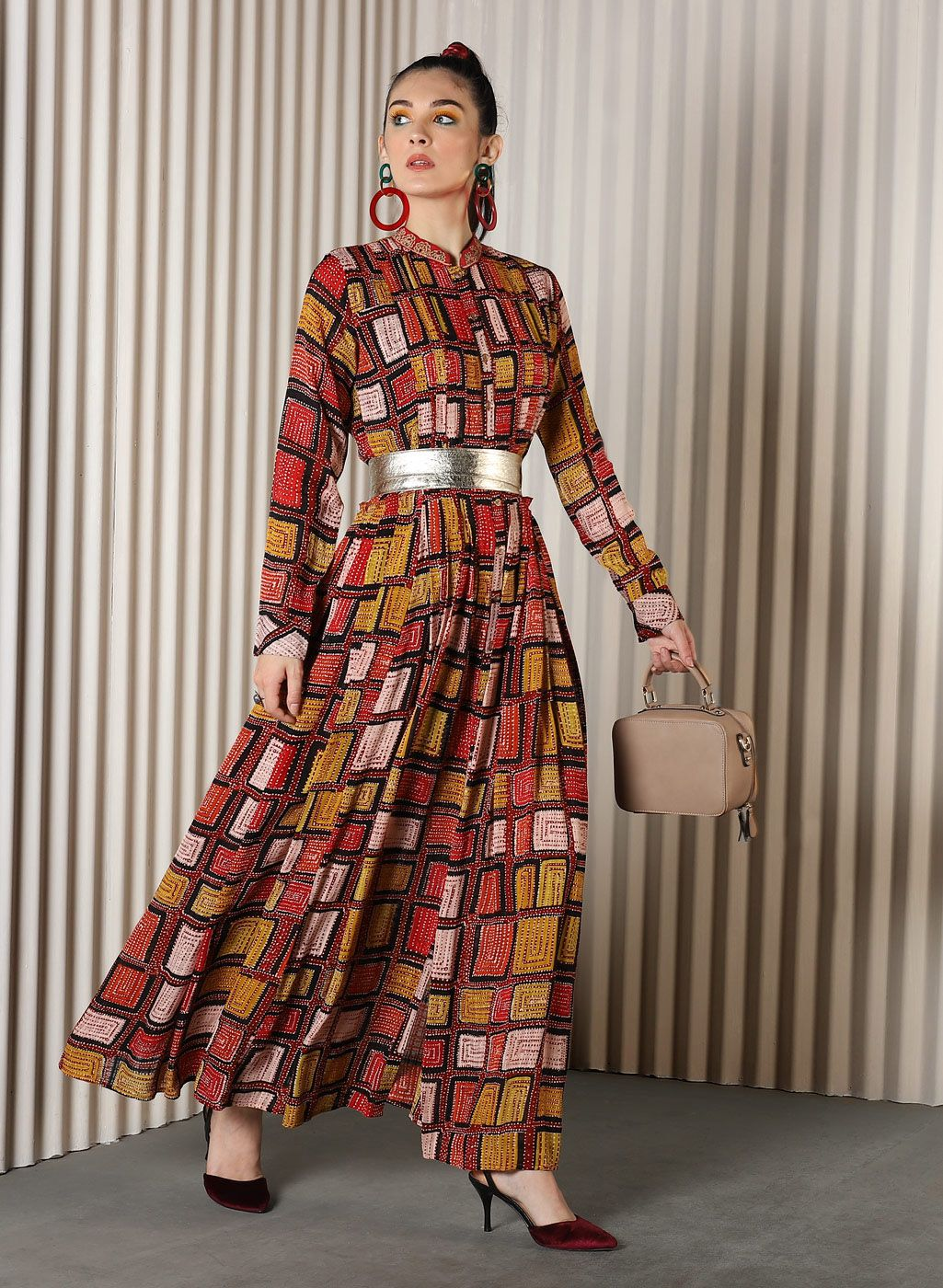 Ritu Kumar Multicolour Checked Flared Maxi Kurta Ritukumar