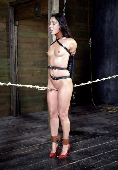 sexy lady topless naked and tied up