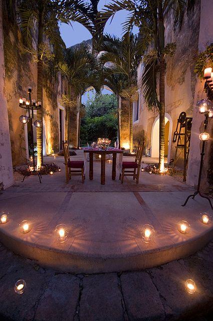 Romantic dining at the hacienda en 2019 m xico m gico for Muebles estilo mexicano contemporaneo