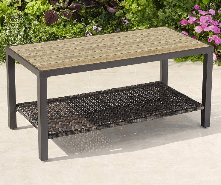 Wilson Fisher Palermo All Weather Wicker Faux Wood Coffee Table Big Lots Coffee Table Wood Coffee Table Faux Wood