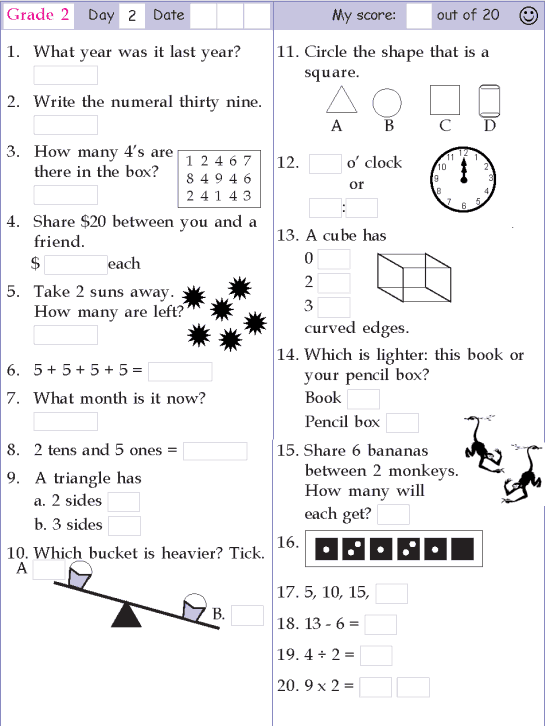 Mental Math Grade 2 Day 2 mental maths worksheets – Grade 4 Mental Math Worksheets
