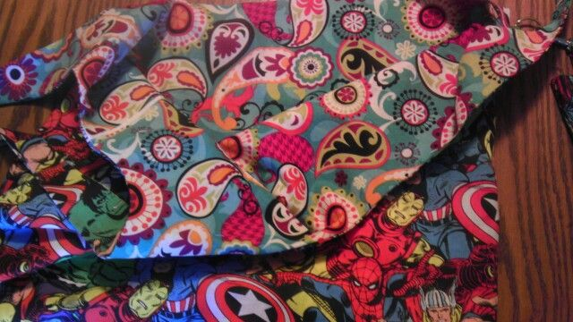 I lined the Marvel heroes bag with paisley!
