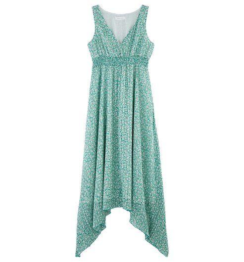 Longue Robe Asymetrique Imprime Vert Saty Promod Robe Longue Idees De Mode Robe Romantique