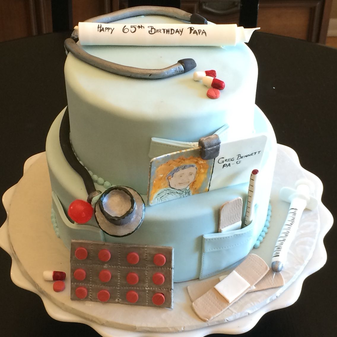 Physician's assistant birthday cake with stethoscope ...