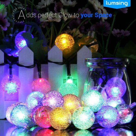annt solar outdoor string lights 20ft 30 led multi color crystal ball solar powered globe fairy lights for garden fence path landscape decoration waterproof - Solar Christmas Decorations Walmart