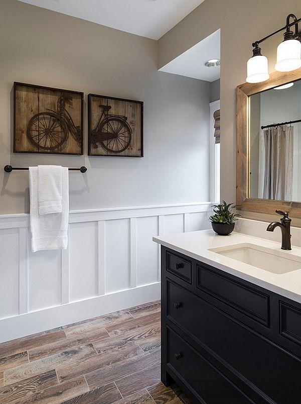 Wall Art In The Powder Room Is A Wonderful Alternate To The Wall Mounted Bike Bathrooms Remodel Boys Bathroom Wood Like Tile