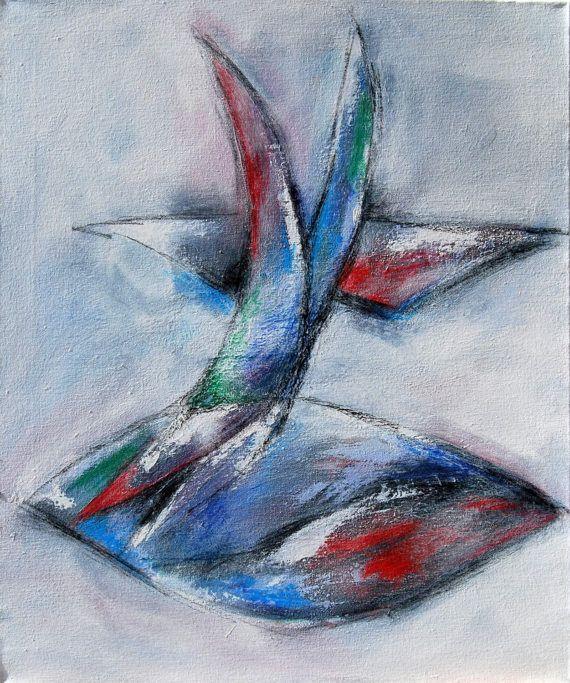 Abstrakte Bilder Auf Leinwand neißer abstraktes bild mit acryl und ölkreide auf leinwand