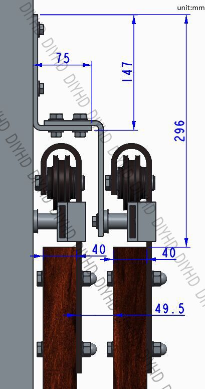 DIYHD 5ft-10ft Rustic black bypass double sliding barn door hardware - Roulette Porte De Placard Coulissante