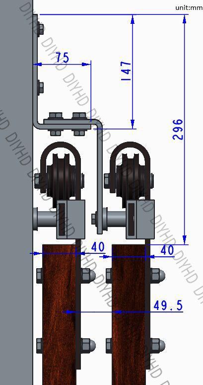 DIYHD 5ft-10ft Rustic black bypass double sliding barn door hardware - Roulette Porte De Placard Coulissante