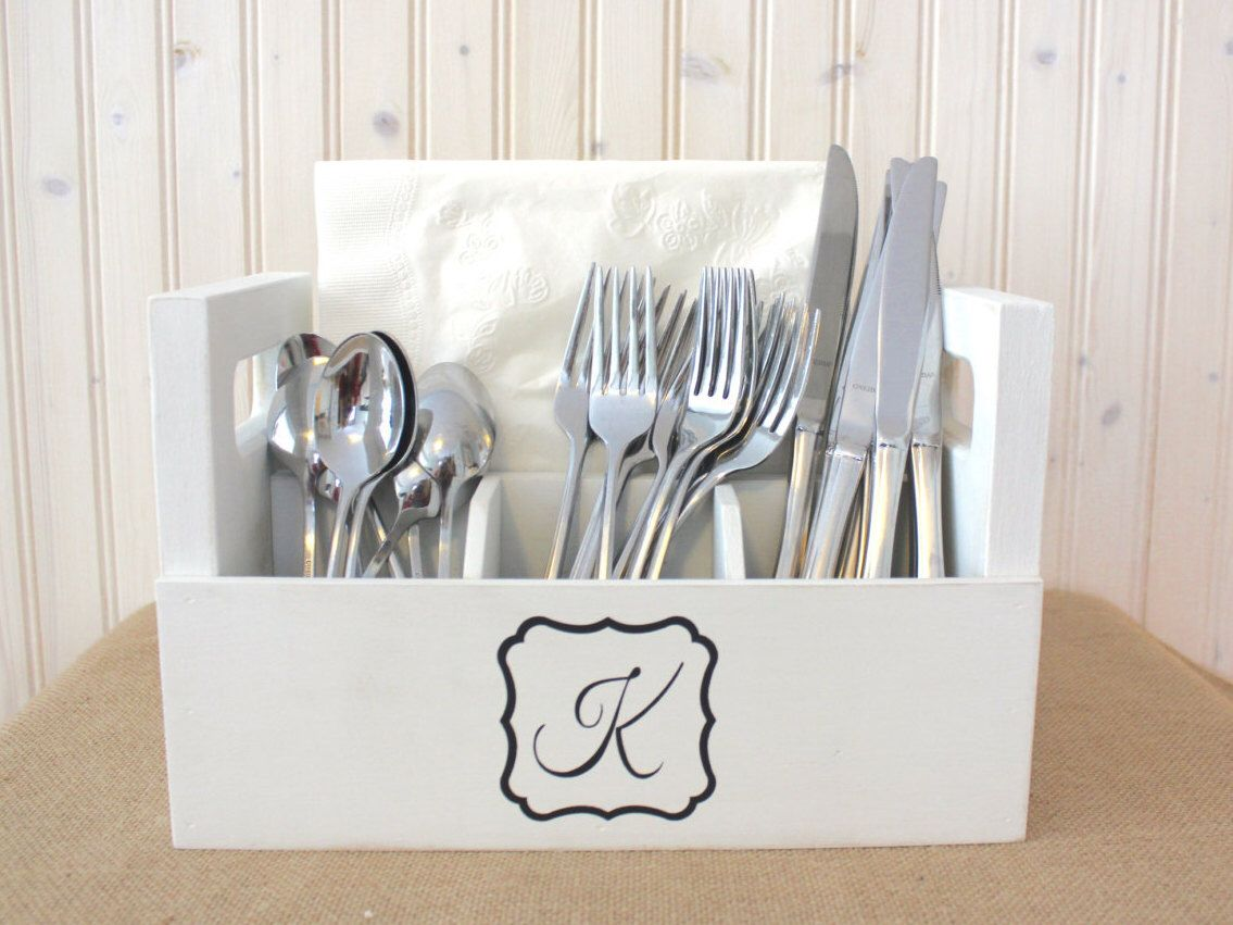 Monogrammed Picnic Caddy Wood Coloring Book Carrier Silverware Crate Handmade With