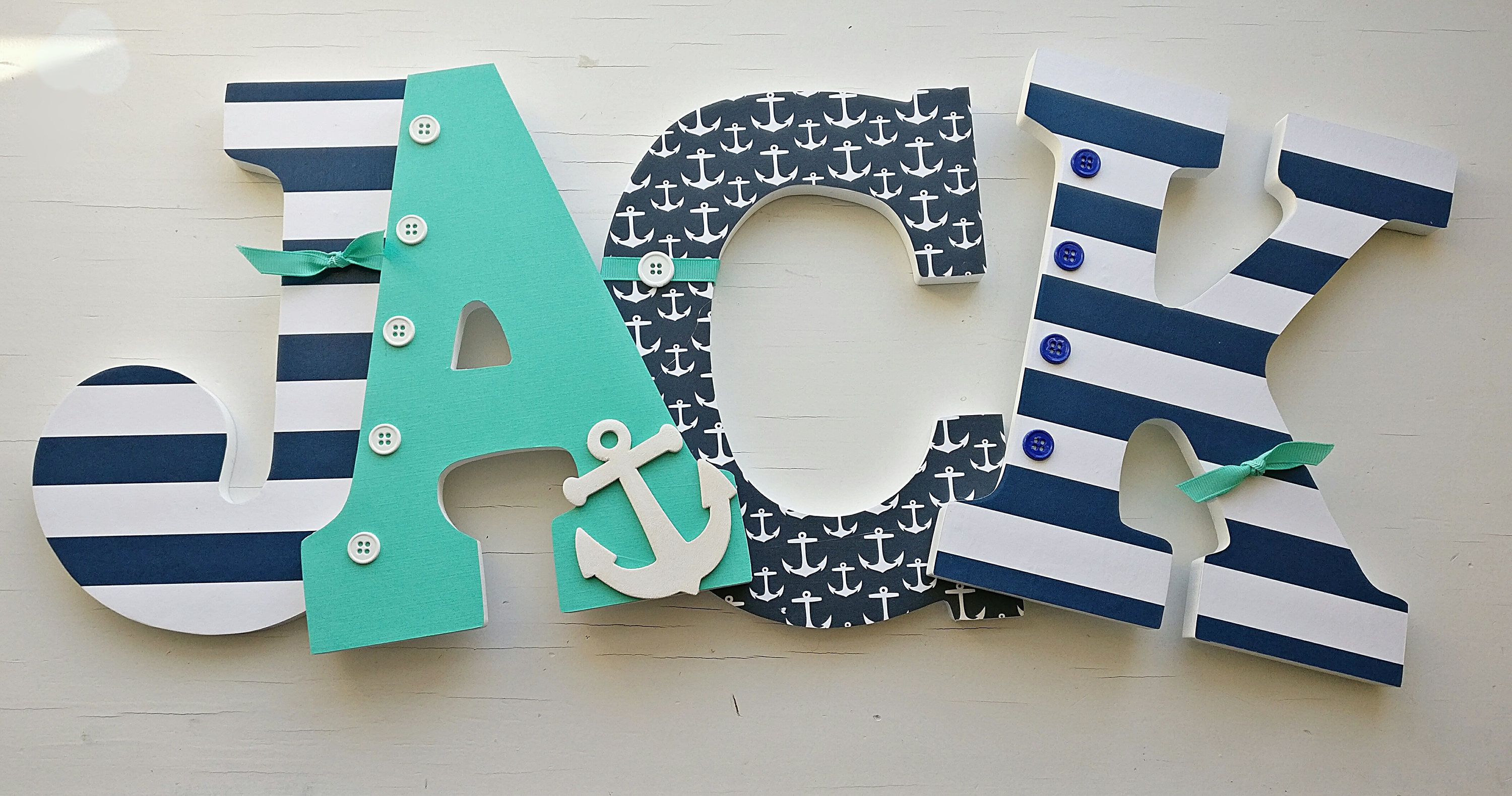 Nautical Letters Nautical Nursery Letters Teal And Navy Wooden