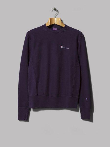 Champion Reverse Weave Crewneck Sweatshirt (Dark Purple)   Mens ...