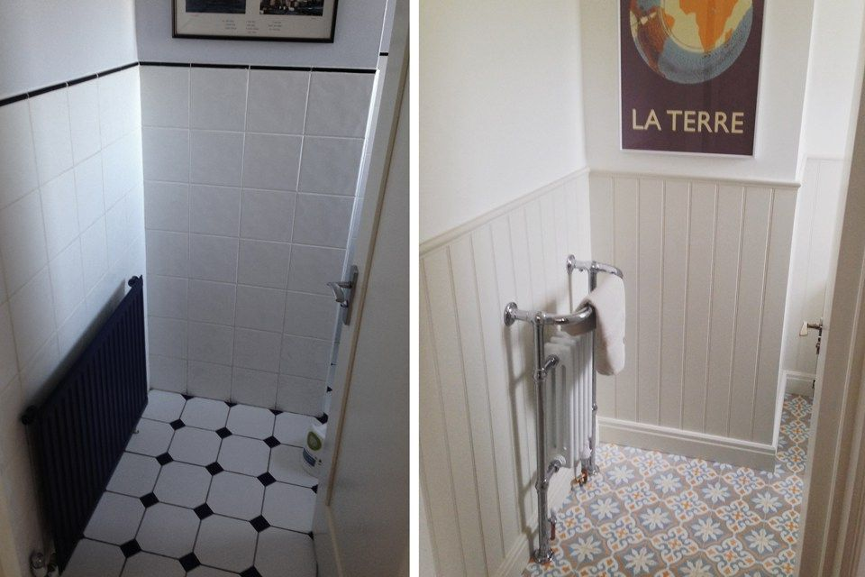 Encaustic Tiles in Toilet/Cloakroom renovation re-design tongue and groove