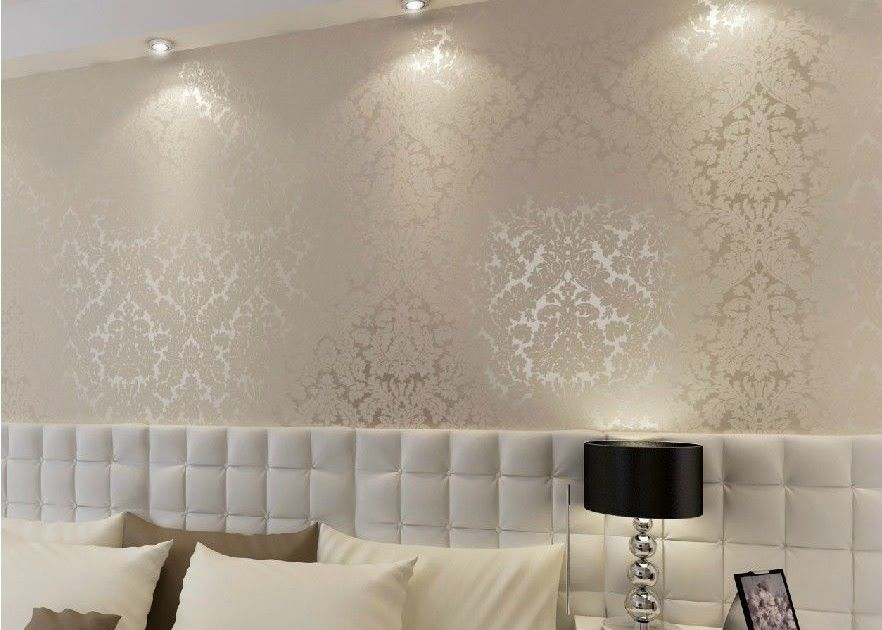 De Alta Gama 10m De Lujo De Damasco Con Textura En Relieve Textured Peel And Stick Wallpaper Damask Wall Bedroom Wallpaper Accent Wall Bedding Master Bedroom