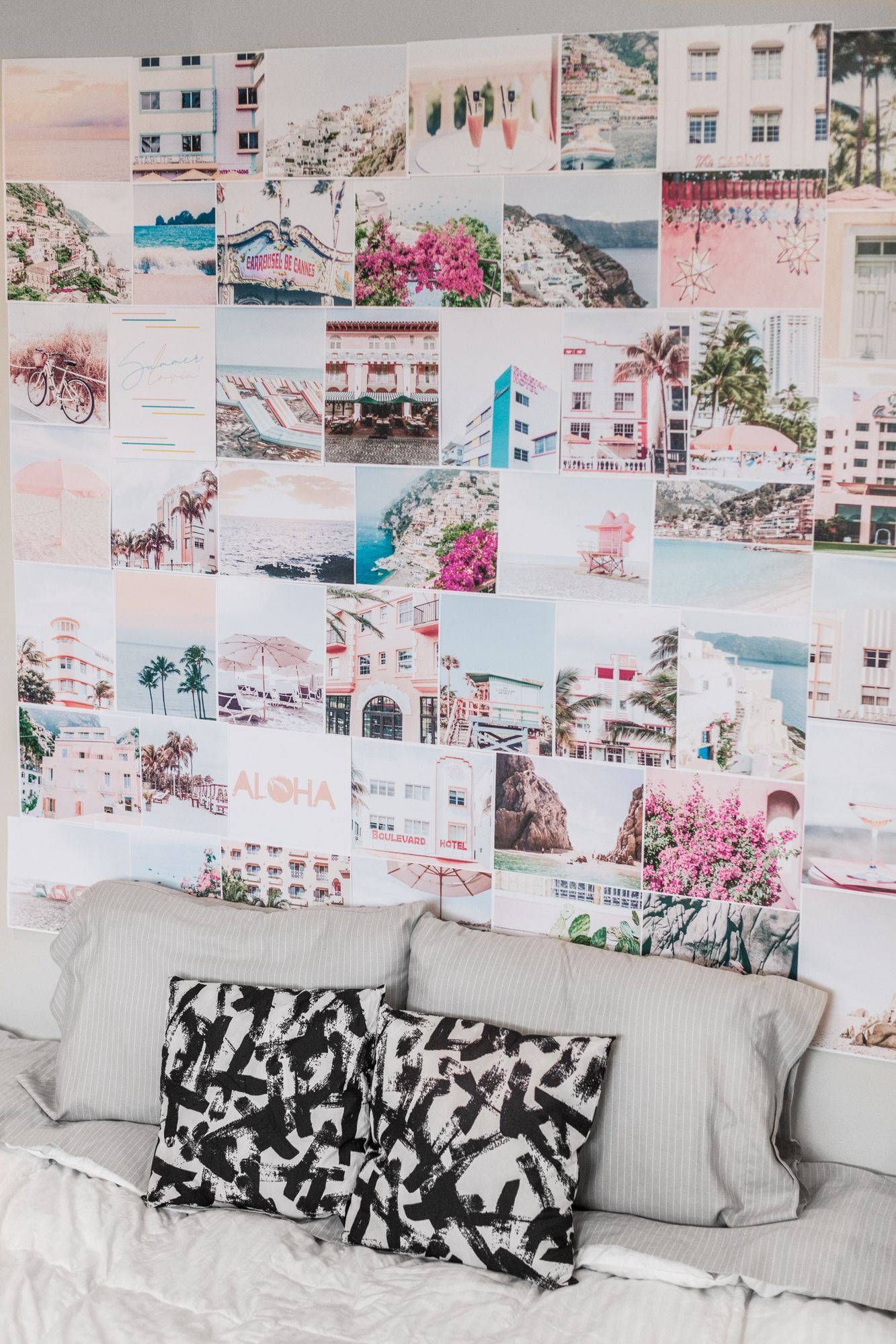 Gallery Wall Art Pink Room Decor Prints Collage Kit Beach