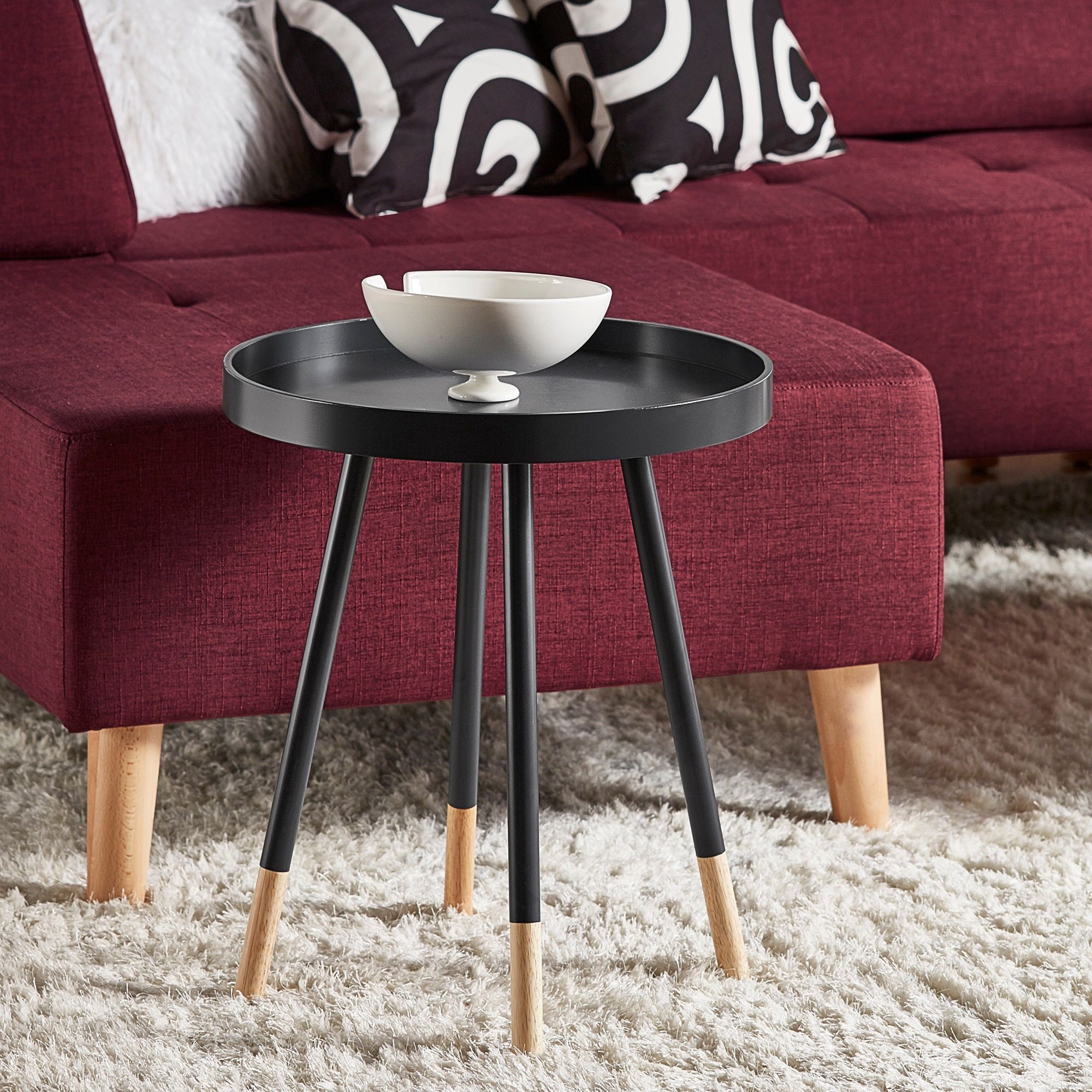 Marcella Paint-dipped Round Spindle Tray-top Side Table iNSPIRE Q Modern (