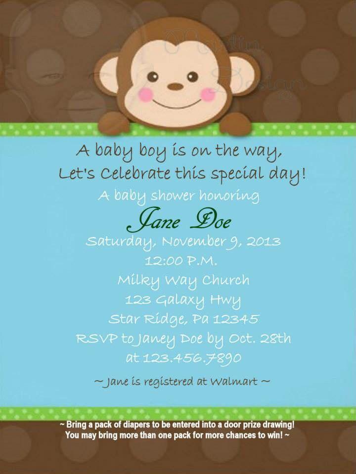 Boy Monkey Baby Shower Invitation By Martin Design Babies