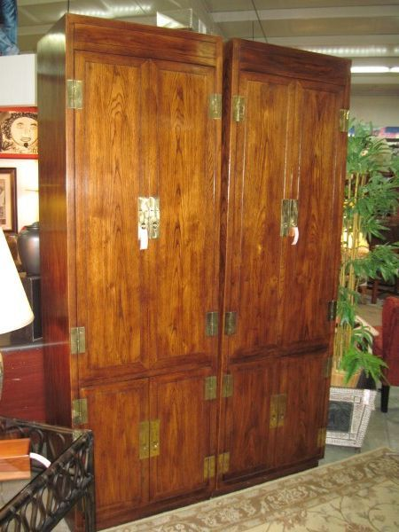 Henredon Armoire Tall Dark Wood   Two Available And Parts To Make Into A  King Headboard