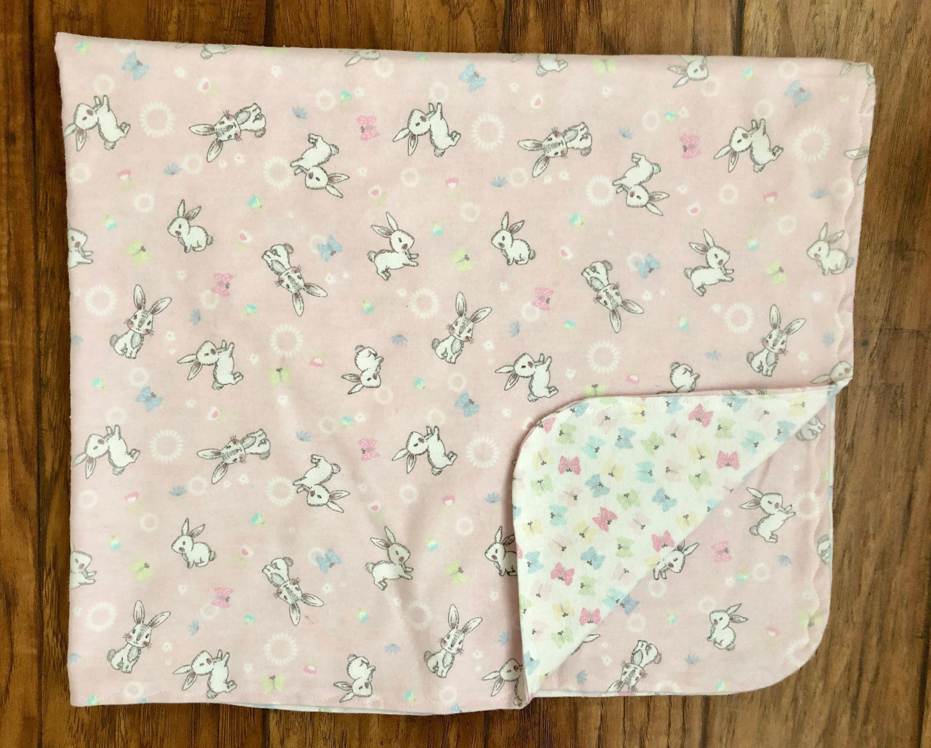 Bunnies And Butterflies Flannel Baby Blanket Double Sided Flannel Blanket Baby Blanket Bunny Blanke Handmade Baby Gifts Handmade Blanket Handmade Baby Blankets