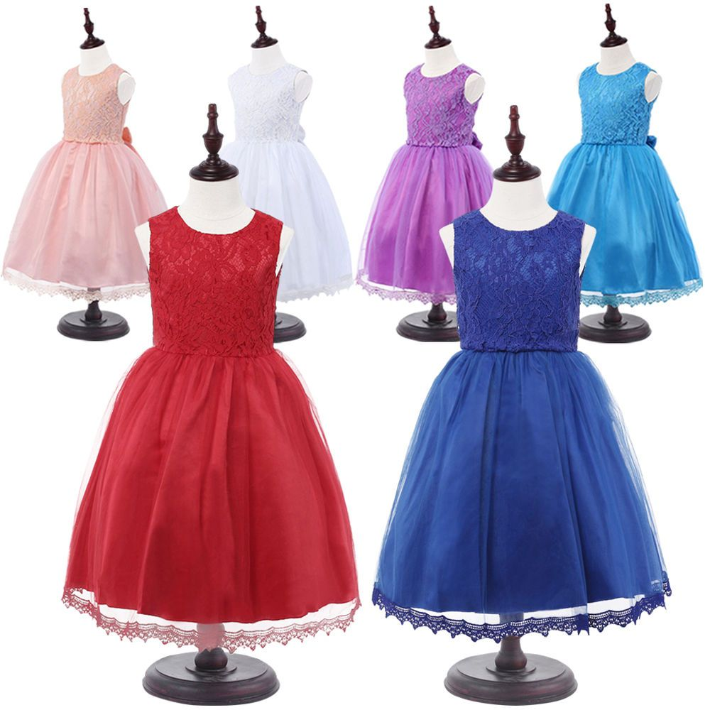Girls Bridesmaid Dress Kids Princess Wedding Summer Party Flower Bow.  Color Bright Blue e37038f161ee