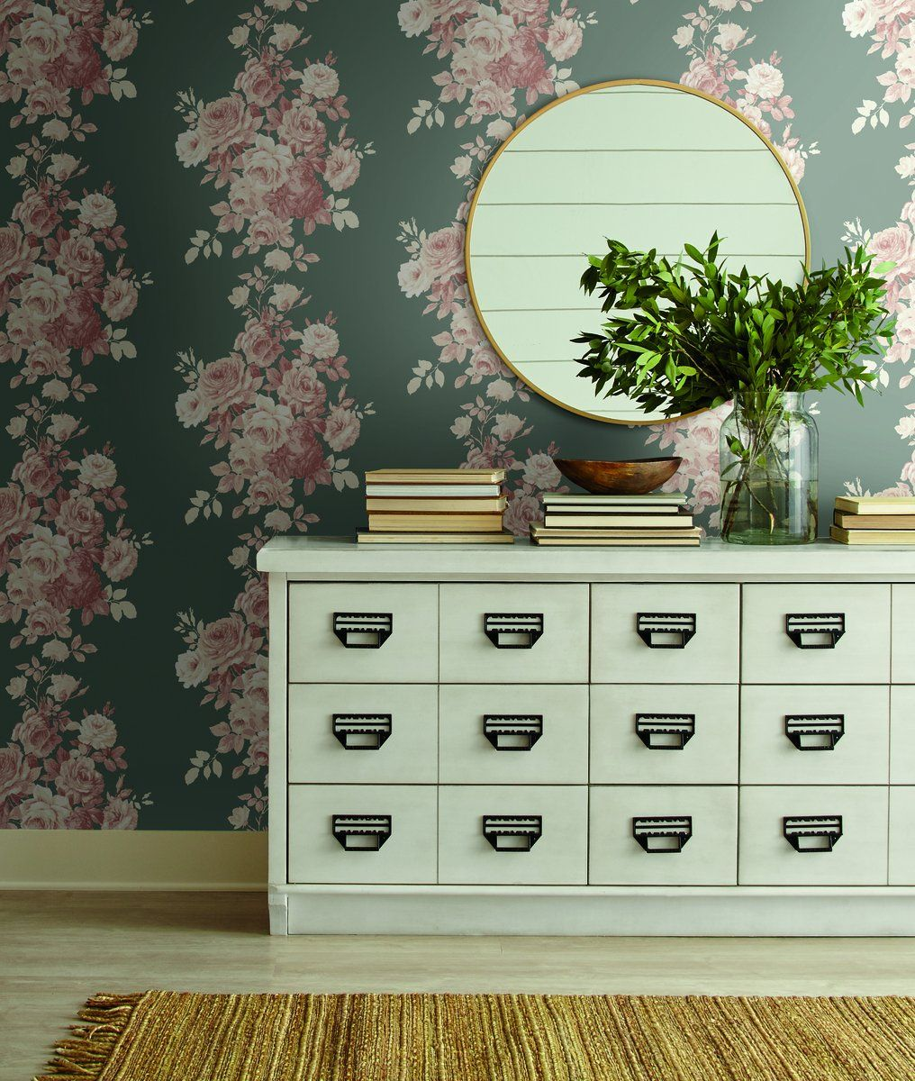 Magnolia Home Tea Rose Gray and Pink Floral Wallpaper in