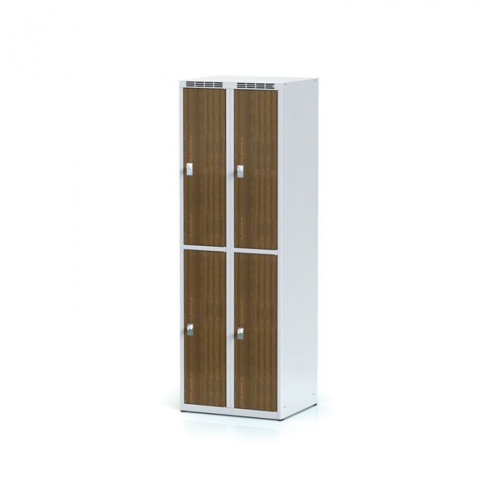 Wardrobe, 4 boxes 300 mm, laminated walnut door, revolving …